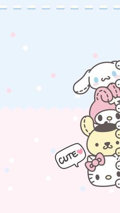 cute wallpapers for mobile with Sanrio characters, Hello Kitty, My Melody, and Gudetama among others! Wallpaper Kawaii, My Melody Wallpaper, Sanrio Wallpaper, Hello Kitty Wallpaper, Cute Wallpaper Backgrounds, Wallpaper Iphone Cute, Disney Wallpaper, Trendy Wallpaper, Tsum Tsum Wallpaper