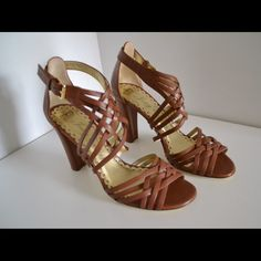 """Juicy Couture heeled sandals Gorgeous Juicy Couture heeled sandals. Made in Italy Size 9. Heels 3"""" Leather Color: caramel Minor wear to soles (pic) In excellent and beautiful condition:-) Juicy Couture Shoes Sandals"""