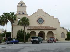 The Little Church on the Square, one of the monthly car shows