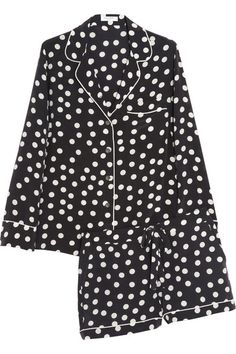 Black and white polka-dot washed-silk Top: breast pocket, white piping  Shorts: elasticated drawstring waist, two side slit pockets, back patch pocket, white piping Button fastenings through front 100% silk Dry clean Come in a matching button-fastening pouch
