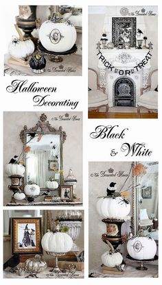 The Decorated House: ~ Halloween Decorating - Mercury Glass with Black & White Halloween Fun Disney Halloween, Halloween Chic, Halloween Mantel, Halloween Home Decor, Diy Halloween Decorations, Halloween House, Holidays Halloween, Vintage Halloween, Halloween Crafts
