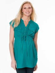 Sleeveless Button Front Maternity Tunic