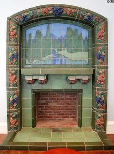 Earthenware tile chimney surround (1903) by John Hamilton Delaney Wareham of Rookwood Pottery Co. of Cincinnati at Cincinnati Art Museum. Cincinnati, OH.