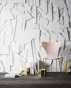 What's New, What's Next: 5 Hot Decor Trends, Straight from the 'Runway' — ICFF 2015   Apartment Therapy Fritz Hansen, Arne Jacobsen Chair, 3d Wanddekor, Wall Design, House Design, 3d Wall Decor, Wall Art, Eclectic Decor, Danish Design