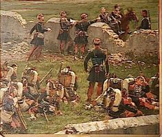 Fragment of the Panorama of the battle of Rezonville August 1883 (oil on canvas) by Jean-Baptiste Edouard Detaille French History, European History, Art History, History Pics, Military Diorama, Military Art, Military History, Edouard Detaille, Soldier Drawing