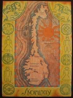 Map of Norway Anique Original Print Number 269 by iowajewel, usd 24.99