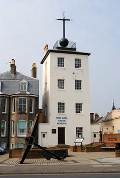 Deal Timeball Tower, a Victorian maritime Greenwich Mean Time signal located on the roof of a waterfront tower in the coastal town of Deal, Kent, England. It was established in 1855 by the Astronomer Royal, George Bidd.