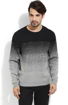 Black Structured Casual Sweater   @ Looksgud.in  #Style #Winterwear #Gray