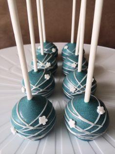Frozen Theme cake pops   Blue cake pops w/ silver swirls   Krafty Krumbs