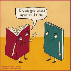 """(The """"closed book"""" should totally be an e-reader! I Love Books, Good Books, Books To Read, Book Art, Anchor Books, Library Humor, Library Signs, I Wish You Would, Funny Relationship"""