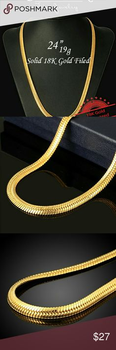 """24"""" 18K Gold Spiga (Wheat) Chain Necklace On trend this Summer is this genuine 18 Karat Gold filled Brass Spiga (or Wheat) chain necklaces for men and women. Traditional styling and a luminously polished finish make this the perfect Fine Jewelry accessory for any occasion.  Chain Type: Spiga (Wheat) Chain Length: 24"""" Width: 1/4"""" (approximate) Metal: 18-Karat Gold Filled Brass Accessories Jewelry"""