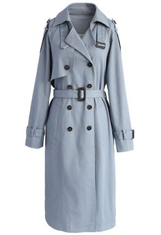 Faddish Wind Double-breasted Trench Coat in Slate Blue - New Arrivals - Retro, Indie and Unique Fashion