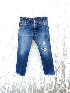 Vintage LEVIS 501 Jeans 34 Waist Boyfriend by HuntedFinds on Etsy