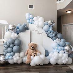 Idee Baby Shower, Baby Shower Deco, Shower Bebe, Boy Baby Shower Themes, Baby Shower Balloons, Baby Shower Gender Reveal, Baby Shower Parties, Baby Boy Shower, Teddy Bear Baby Shower