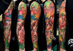 koi fish tattoo, lotus tattoo by Meng Xiangwei @greattangtattoo http://facebook.com/greattangtattoo