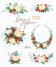 Berry Flavor. Watercolor Bouquets and Wreath hand by OctopusArtis