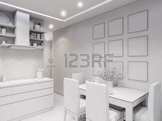 3d illustration design interior of modern kitchen without textures