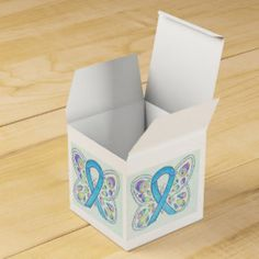 Blue Butterfly Awareness Ribbon Take Out Favor Box