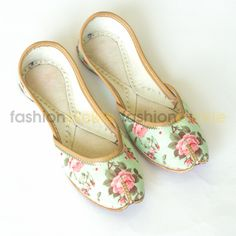 Vintage Flower Mint Green Handmade Shoes