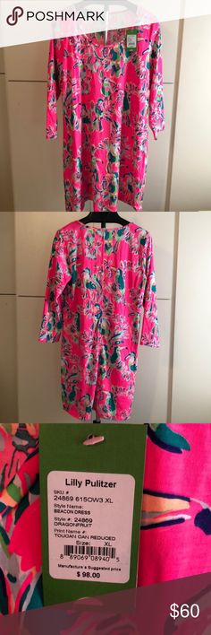 NWT Lilly Pulitzer Beacon Dress A fun bright Lilly dress with Toucans. If you love bright colors this is the dress for you! Never worn. No longer my size. Lilly Pulitzer Dresses