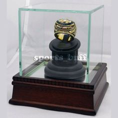 Single Ring Display Case for Presentation Solid Cherry Wood & UV Glass Ring Box