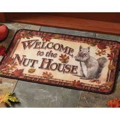 Door Mat Rug Welcome To The Nut House Squirrel Humor Funny Rivers Edge Nature Nutty Buddy, House Doors, Inexpensive Gift, Chipmunks, Floor Mats, Indoor Outdoor, Sweet Home, Rustic, Funny