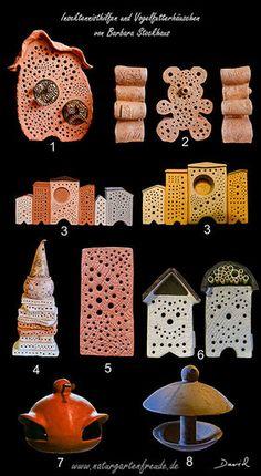Nisthilfen aus gebranntem Ton von der Töpferin Barbara Stockhaus (Insektennisthilfe, Insektenhotel, insect hotel, insect nesting aid).pollinator bug house