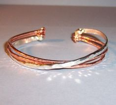 Boho Multi Strand Bracelet Copper And Sterling Silver Wire Cuff