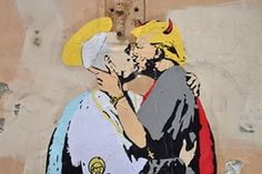 A collage shows Pope Francis kissing US President Donald Trump on May 11, 2017 near Castel Sant'Angelo in central Rome