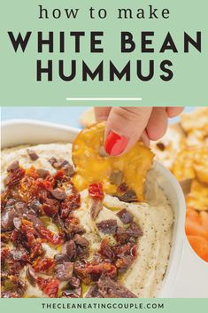 White Bean Hummus is an easy, vegan snack or appetizer. Made with no tahini, serve it warm or cold– it's a low calorie, high protein snack that is so yummy! Healthy, simple and quick to make. Top it with roasted garlic, rosemary or olives - it's the perfect white bean dip!