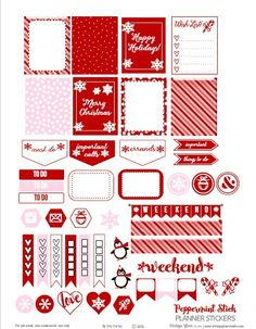 Peppermint Stick Planner Stickers | Free printable download, for personal use only.