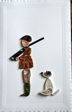 One man and his dog - by: Janet McAlister - pinterest.com/yorkshiresbest/my-quilling/
