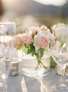 style me pretty - real wedding - usa - california - lake tahoe wedding - willow stay ranch - private residence - reception decor - table decor - centerpiece - spray roses