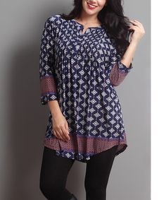 Another great find on #zulily! Midnight Navy Medallion Notch Neck Tunic - Plus #zulilyfinds