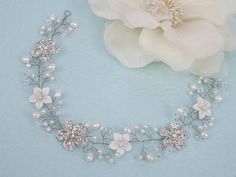 Thea Vintage Style Mother Pearl Flower by labellechanson on Etsy