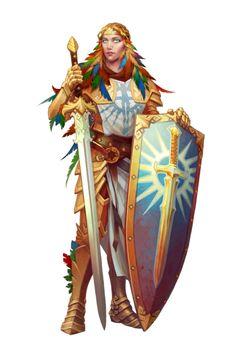 f Female Aasimar Paladin or Warpriest of Iomadae - Pathfinder PFRPG DND D&D ed fantasy Female Character Design, Character Design Inspiration, Character Art, Character Ideas, Dnd Characters, Fantasy Characters, Female Characters, Pathfinder Character, Pathfinder Rpg