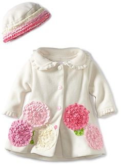 Bonnie Baby Girls' Ivory Fleece Coat and Hat, Ivory, 12 Months