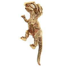 Two Headed T-Rex Necklace charm pictured in Gold Brass. Also available in Sterling Silver