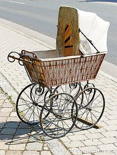 Antique Wicker Baby Carriage Stock Image - Image of carriage, stroller: 18727973 Landau Vintage, Vintage Pram, Vintage Stroller, Pram Stroller, Baby Strollers, Bassinet, Prams And Pushchairs, Dolls Prams, Baby Buggy
