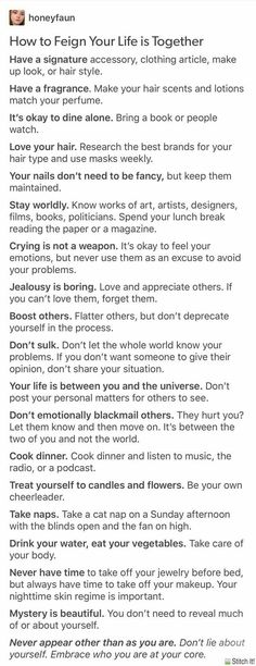 Good self care tips and habits to pick up Life Advice, Good Advice, Life Tips, Quotes To Live By, Life Quotes, Better Life, Self Improvement, Self Help, Self Care