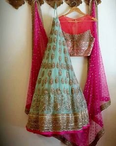 Lovely powder blue color lehenga and pink color blouse duppata with hand made zardozi work. Half Saree Lehenga, Red Lehenga, Indian Lehenga, Lehenga Blouse, Indian Attire, Indian Wear, Indian Dresses, Indian Outfits, Lehnga Dress