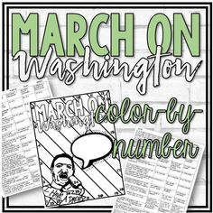 March on Washington Color-by-Number Worksheet Civil Rights March, Howard Zinn, King's Speech, Enrichment Activities, Number Worksheets, I Have A Dream, History Class, Multiple Choice, Marketing And Advertising