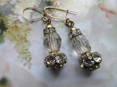 Vintage Alter Crystal Pierced Earrings  Vintage Drop Earrings
