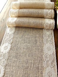 Natural Burlap Table Runner Wedding Table Runner with country cream lace rustic wedding party linens , handmade in the USA rustic burlap & lace table runner, cottage chic wedding table runner with by HotCocoaDesign, Etsy Lace Table Runners, Burlap Table Runners, Lace Runner, Fall Table Runner, Wedding Table Runners, Aisle Runners, Burlap Crafts, Diy Crafts, Sewing Projects