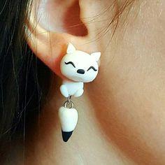 Handmade polymer clay white fox earrings by Geek Chic Dreams