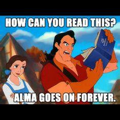 Gaston: How can you read this? Alma goes on forever! #ldshumor Disney Hipster, Hipster Belle, Disney Nerd, Disney College, College Life, Percy Jackson, Mormon Humor, Lds Mormon, Disney Villains