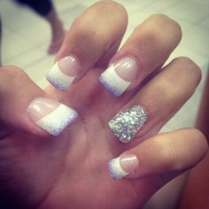 French manicure with a sparkle