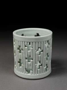 LavishShoestring.com | Brushpot        Place of origin:        Korea (made)      Date:        1800-1900 (made)      Artist/Maker:        Unknown (production)      Materials and Techniques:        Porcelain, thrown, carved, and glazed
