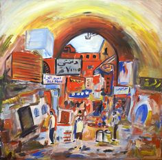 Souk, 1995, Acrylic on canvas, 91 x 91cm (35.83 x 35.83 inch), Study, Private collection. All images are used with the permission by the artist. Re-Pinning is permitted, however, please do not distribute, reproduce, reuse in any shape or form without first contacting the artist. marwan@art-factory.us © Marwan Chamaa.