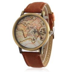 2016  Cowboy strap Map Watch By Plane Watches Women Men Denim Fabric Quartz Watch 7 color sports watches free shipping